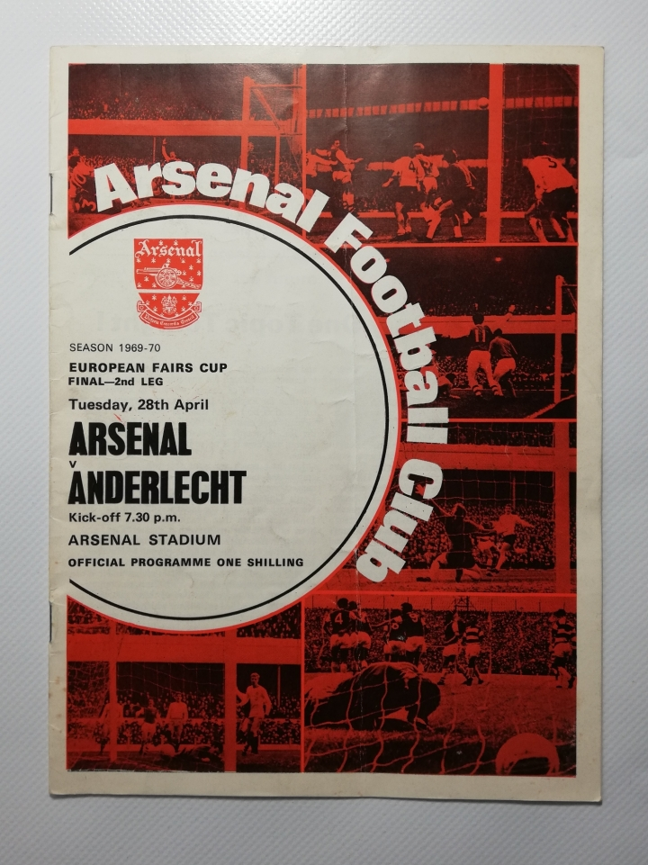 1970 European Fairs Cup Final 2nd Leg Arsenal Vs Anderlecht football programme