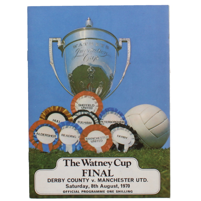 1970 The Watney Cup Final Manchester United vs Derby County programme