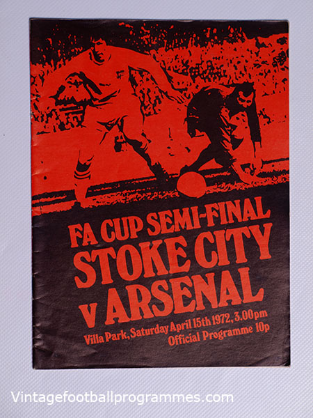 1972 F.A Cup Semi Final 'Stoke City vs Arsenal' Programme