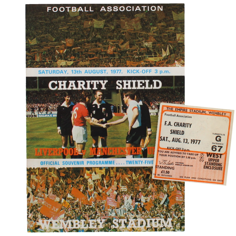 1977 Charity Shield Liverpool vs Manchester United programme and ticket
