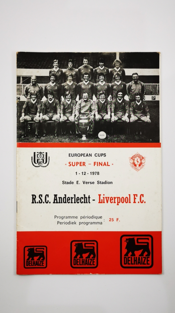 1978 European Super Cup Final first leg Andelecht vs Liverpool programme  football programme