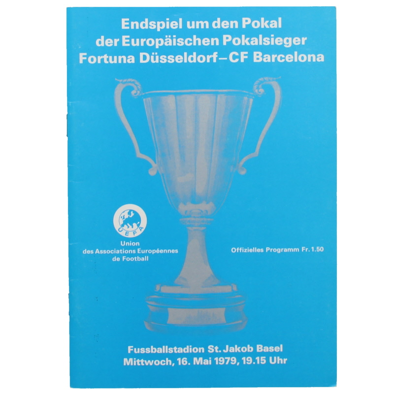 1979 European Cup Winners Cup Final Barcelona vs Fortuna Dusseldorf programme