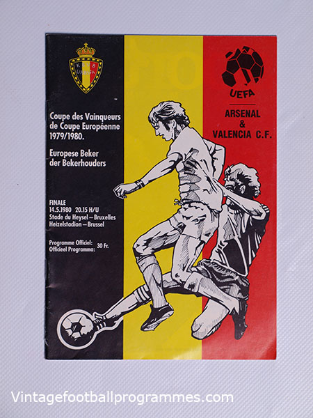 1980 European Cup Winners Cup Final 'Arsenal vs Valencia' Programme football programme