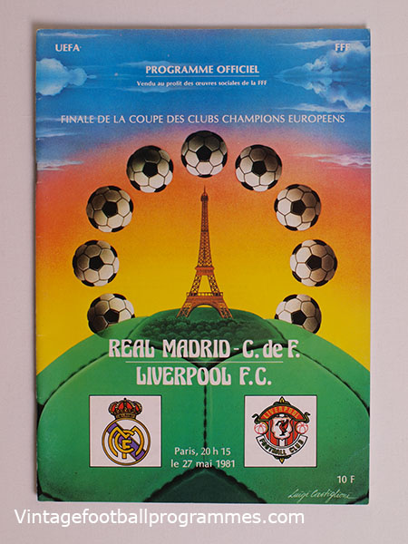 1981 European Cup Final Programme, Real Madrid vs Liverpool football programme