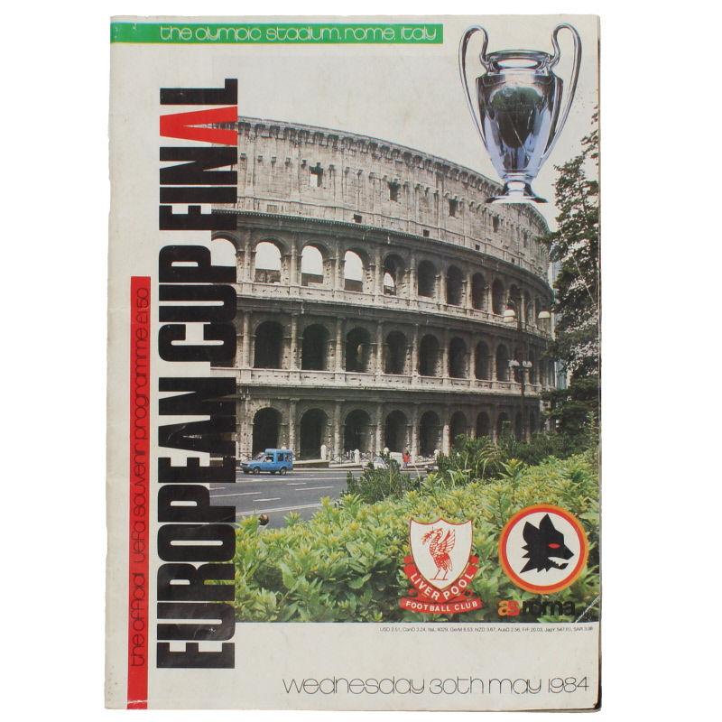1984 European Cup Final Liverpool vs AS Roma programme football programme