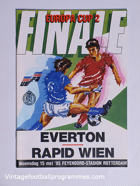 1985 European Cup Winners Cup Final Everton vs Rapid Vienna Programme