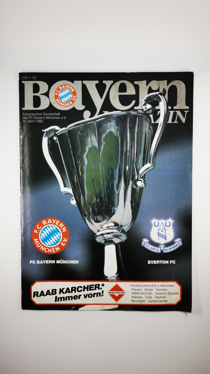 1985 European Cup Winners Semi Cup Final 1st Leg Bayern Munich vs Everton programme