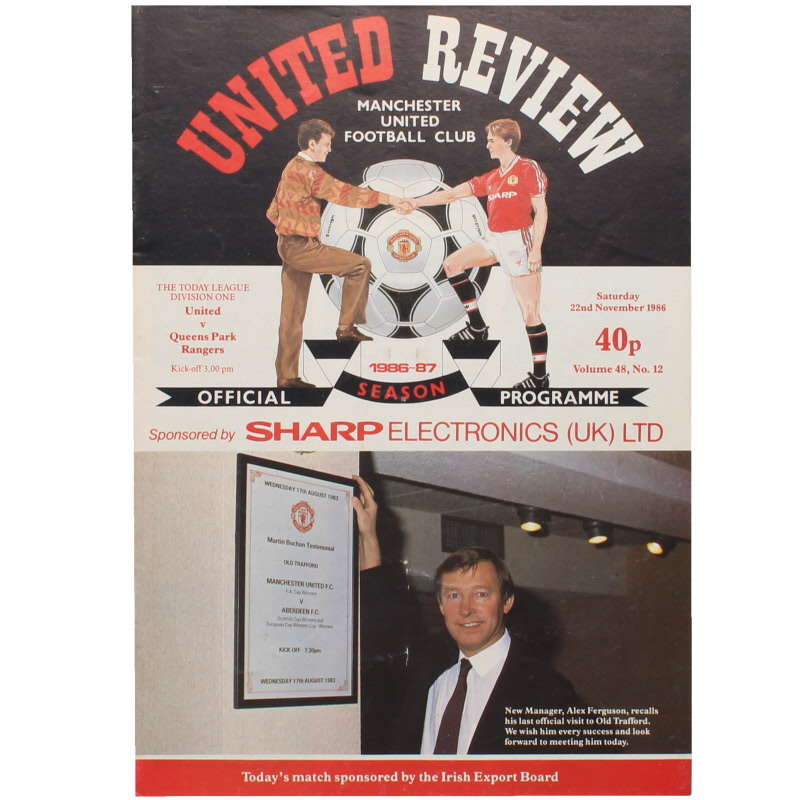 1986-87 Manchester United vs Queens Park Rangers Sir Alex Ferguson first home game football programme