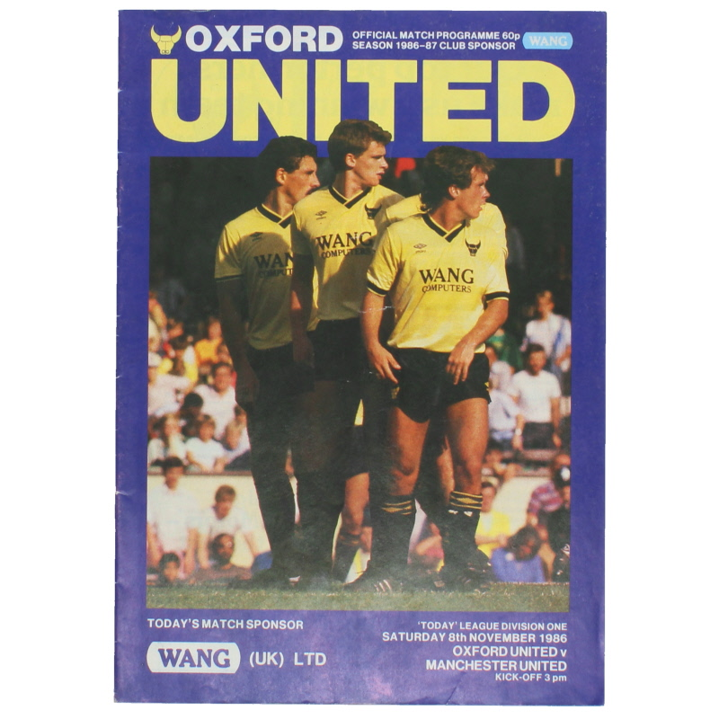 1986-87 Oxford United vs Manchester United 'Sir Alex Ferguson 1st Game as manager' football programme