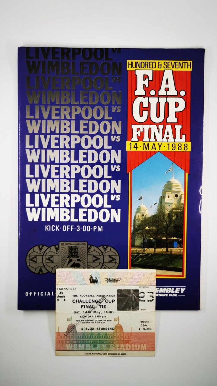 1988 F.A Cup Final Liverpool vs Wimbledon programme and ticket football programme