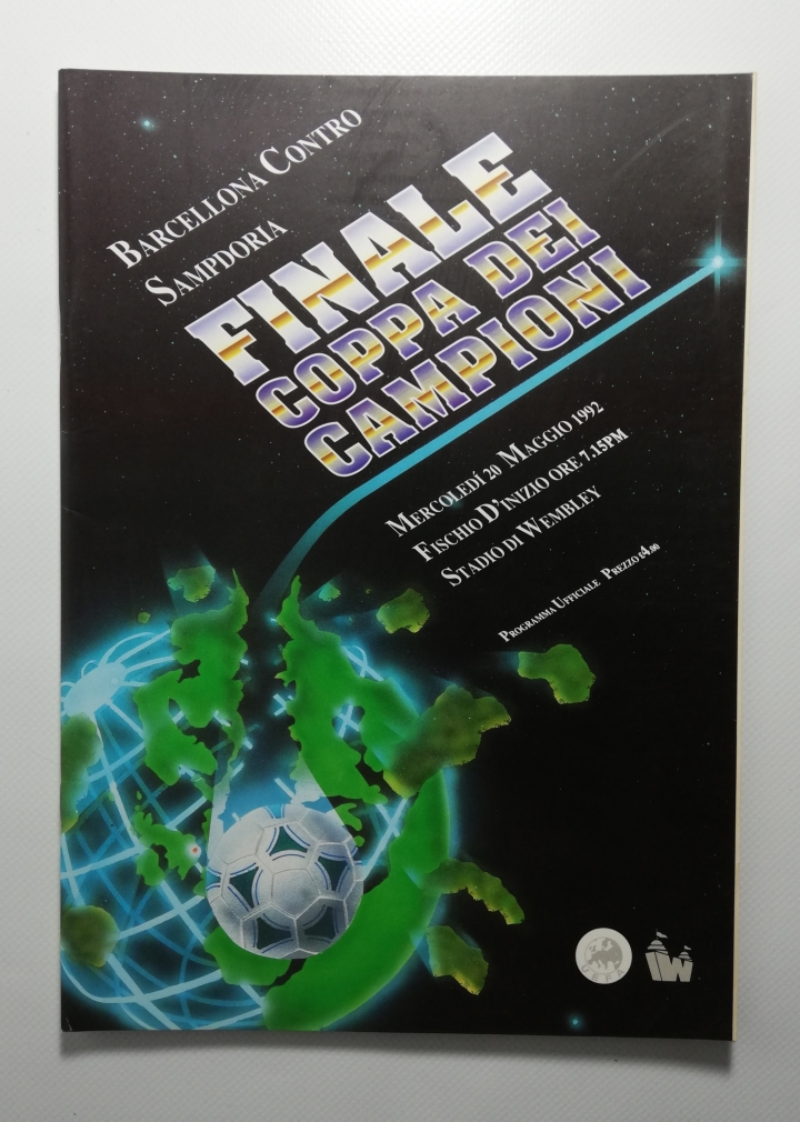 1992 European Cup Final Barcelona vs Sampdoria Italian Edition Programme