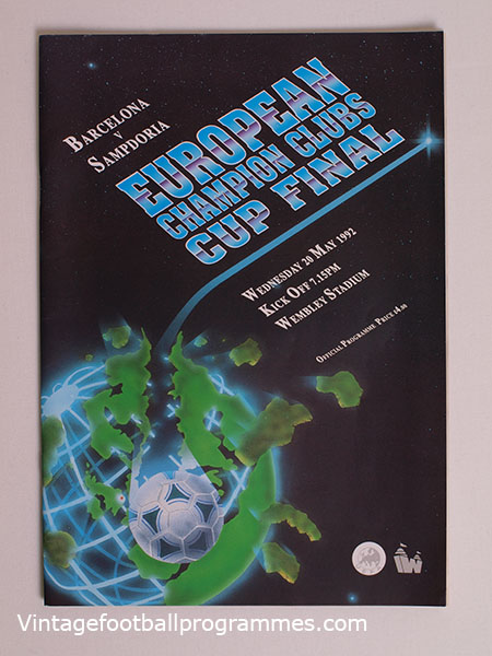 1992 European Cup Final 'Barcelona vs Sampdoria' Programme