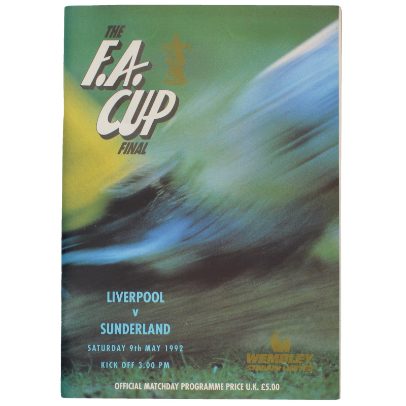 1992 F.A Cup Final Liverpool vs Sunderland programme with poster