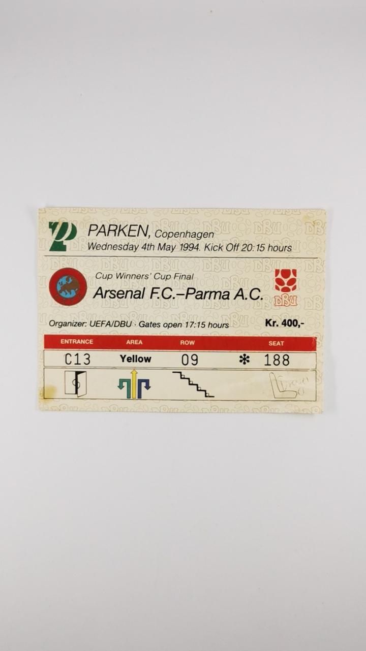 1994 European Cup Winners Cup Final Arsenal vs Parma Ticket football programme