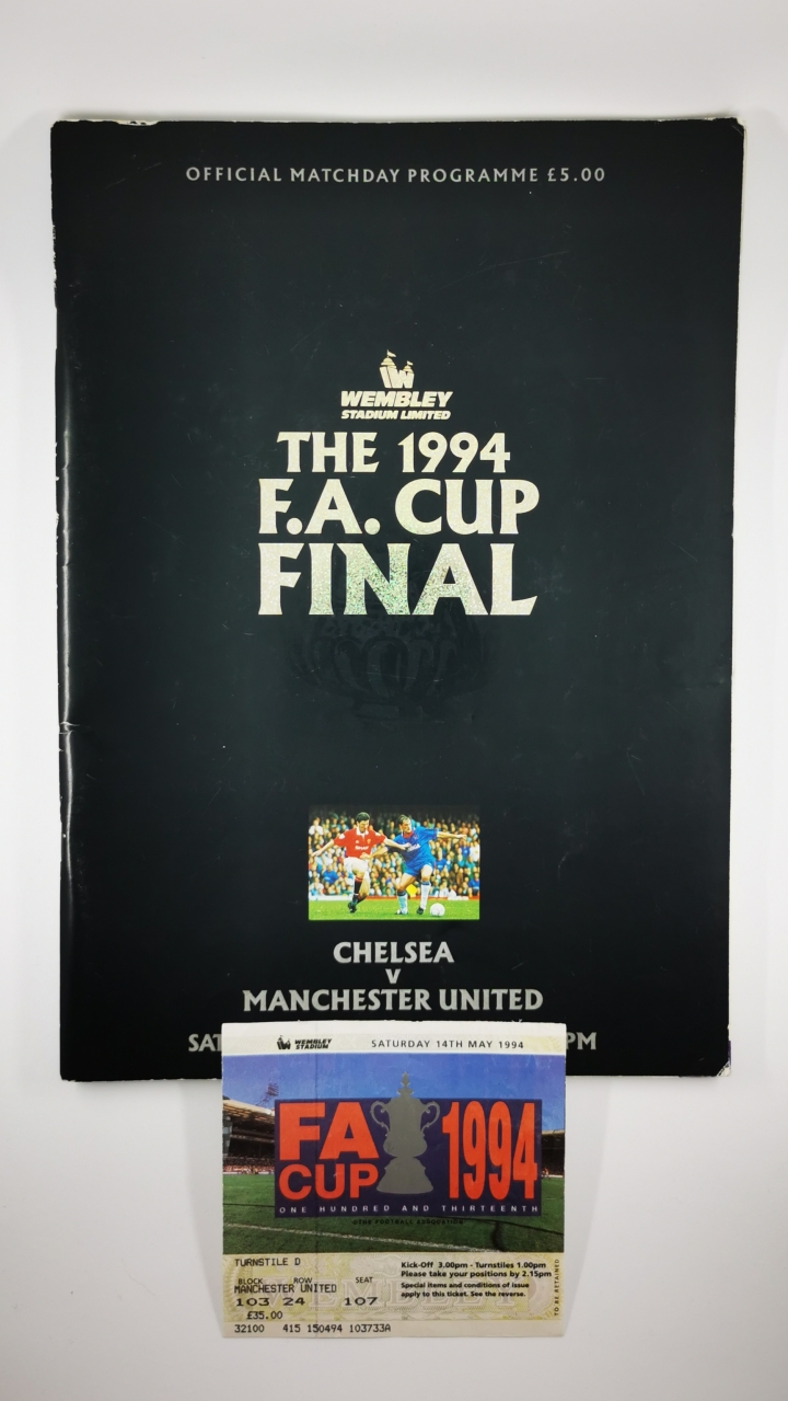 1994 F.A Cup Final Chelsea vs Manchester United programme and ticket football programme