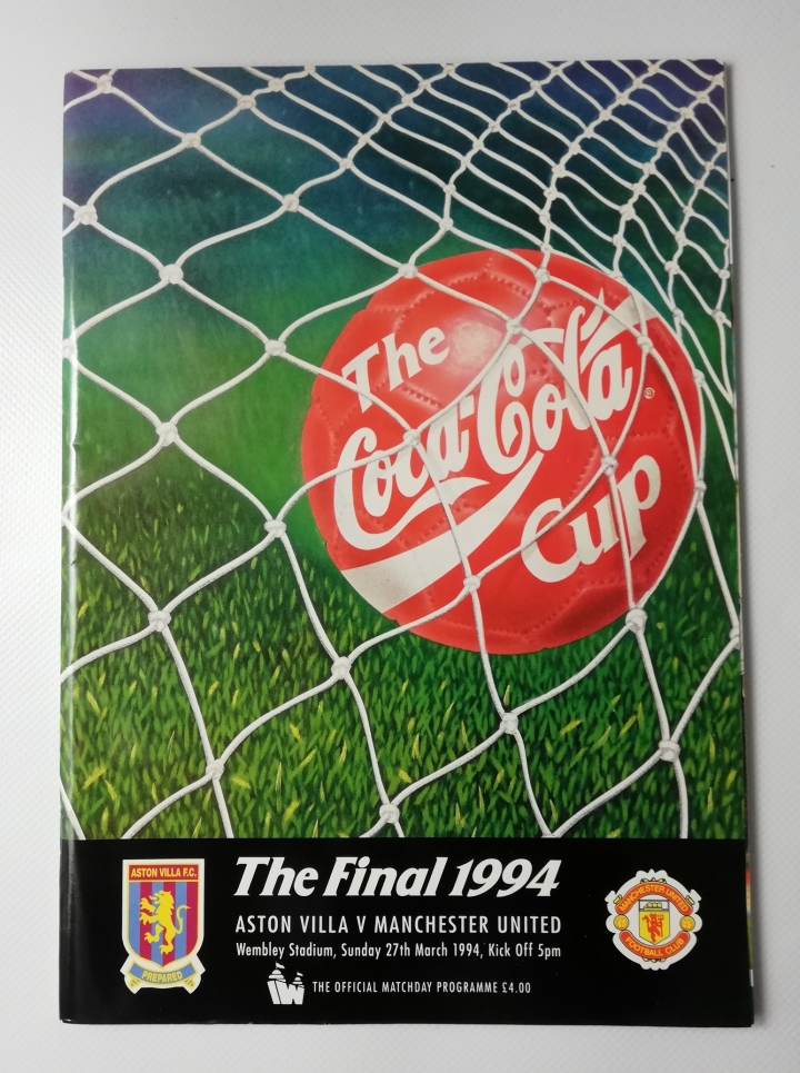 1994 League Cup Final Aston Villa vs Manchester United football programme