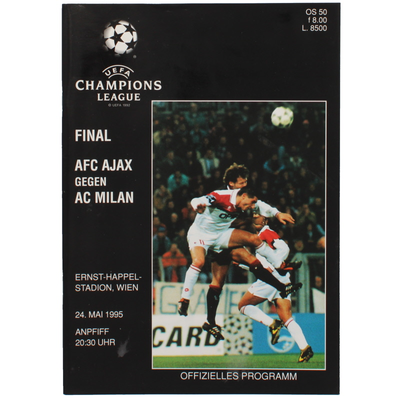1995 Champions League Final Ajax vs AC Milan programme football programme