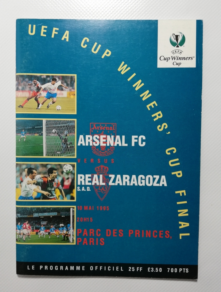 1995 European Cup Winners Cup Final Arsenal Vs Real Zaragoza football programme