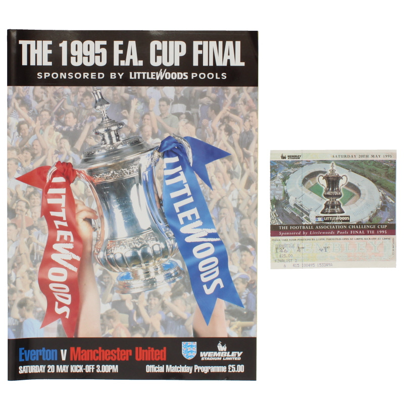 1995 F.A Cup Final Everton vs Manchester United programme and ticket
