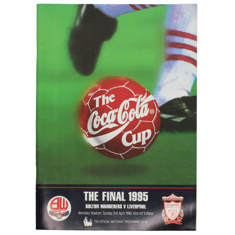 1995 League Cup Final Bolton Wanderers vs Liverpool programme football programme