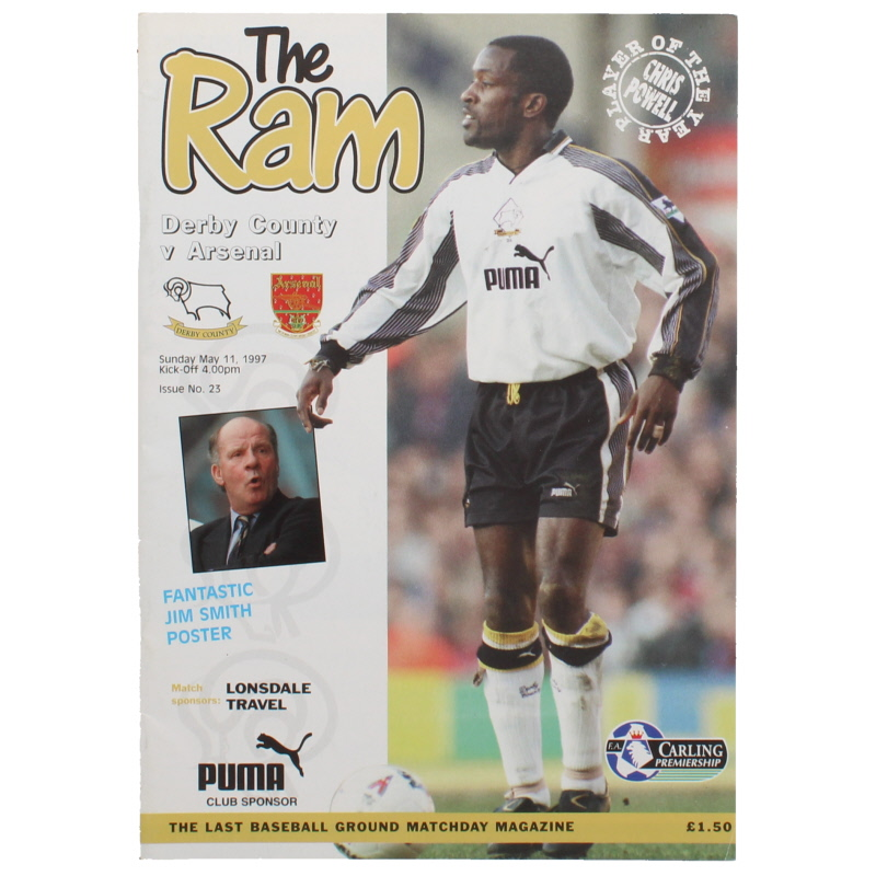 1996-97 Derby County vs Arsenal last game at The Baseball Ground programme