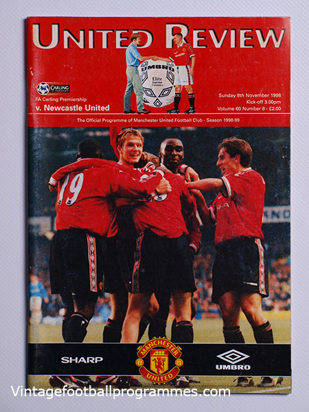 1998-99 Manchester United vs Newcastle United 'Treble Season Programme' football programme