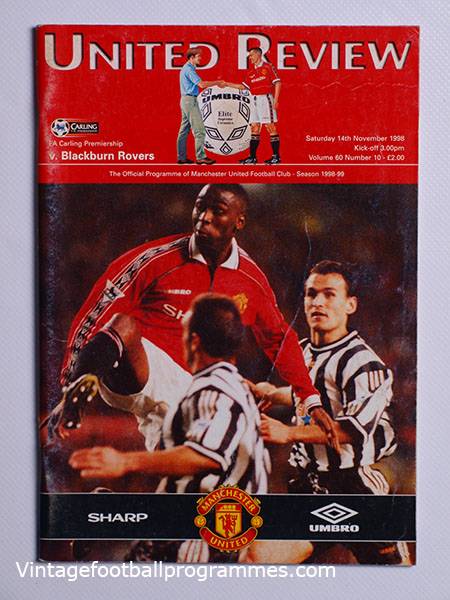 1998-99 Manchester United vs Blackburn 'Treble Season Programme' football programme