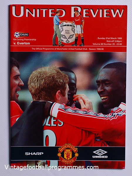 1998-99 Manchester United vs Everton 'Treble Season Programme' football programme