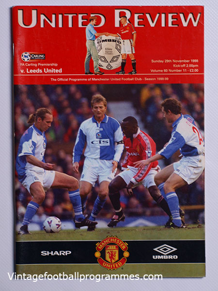 1998-99 Manchester United vs Leeds 'Treble Season Programme' football programme