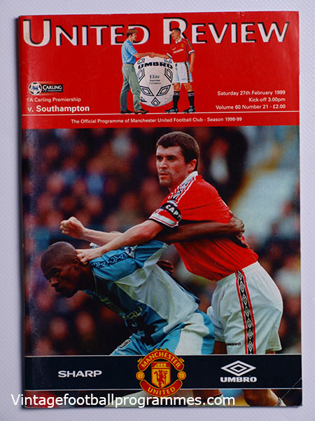1998-99 Manchester United vs Southampton 'Treble Season Programme' football programme