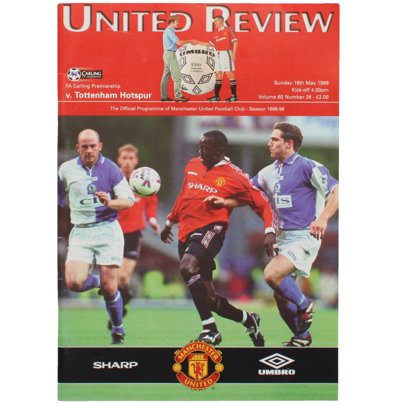 1998-99 Manchester United vs Tottenham Hotspur league title clincher from Treble Season football programme