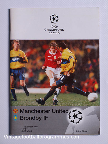 1998-99 UEFA Champions League Manchester United vs Brondby 'Treble Season Programme' football programme