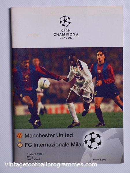 1998-99 UEFA Champions League Manchester United vs Inter Milan 'Treble Season Programme' football programme