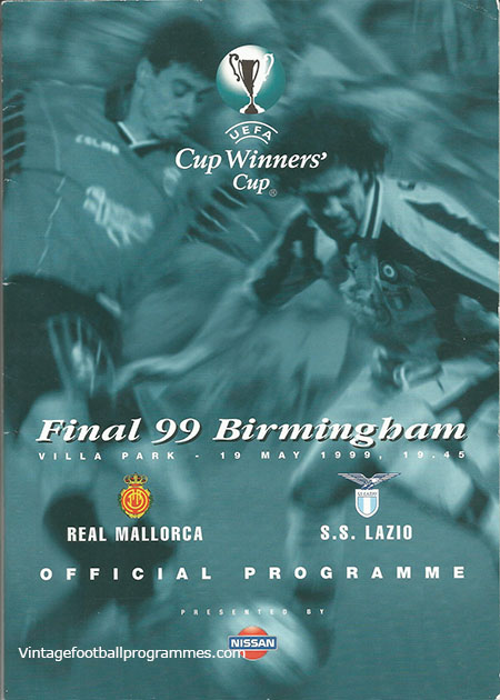 1999 UEFA Cup Winners Cup Final Programme 'Real Mallorca vs S.S Lazio' football programme
