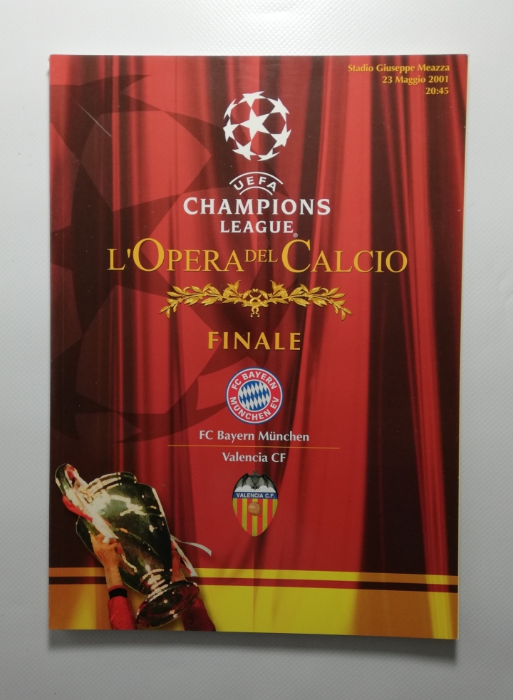 2001 Champions League Final FC Bayern Munich vs Valencia CF football programme