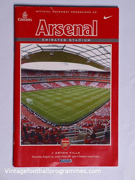 2006-07 Arsenal vs Aston Villa Programne and Poster, First Game at The Emirates