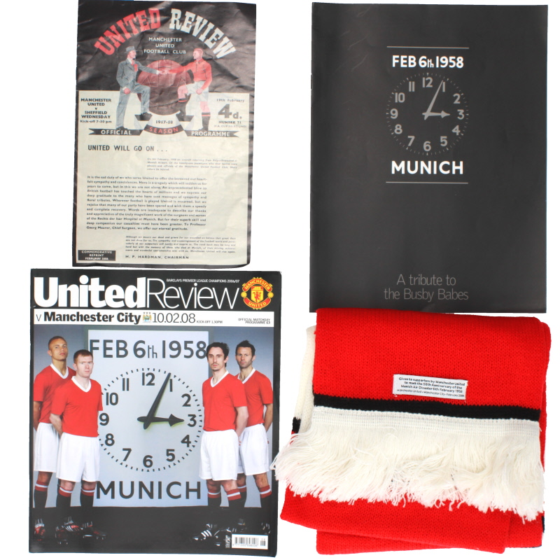 2007-08 Manchester United vs Manchester City Programme and Scarf 50th Anniversay Munich Air Disaster