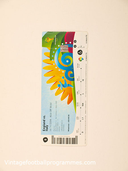 2010 World Cup 'England vs Italy' Ticket football programme