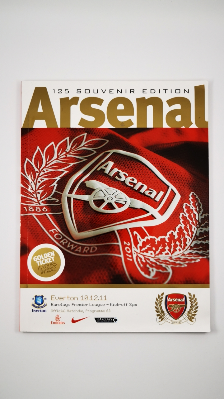 2011-12 Arsenal vs Everton programme 125th souvenir edition football programme