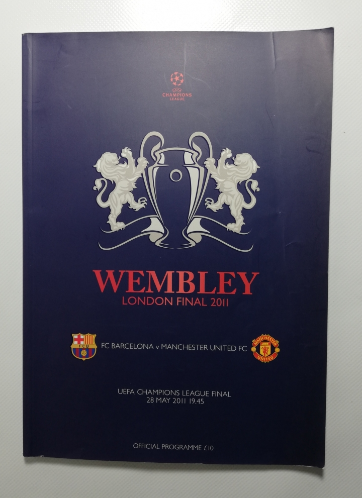 2011 European Cup Final Barcelona vs Manchester United football programme