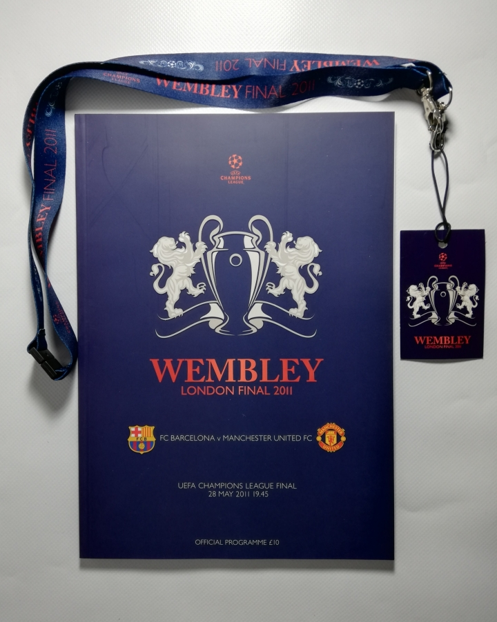 2011 European Cup Final Barcelona vs Manchester United with Lanyard and Press Pack football programme