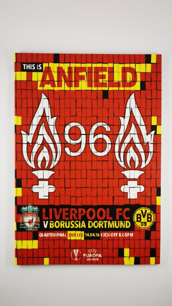 2015-16 Liverpool vs Borussia Dortmund Europa League Quarter Final 2nd Leg programme football programme