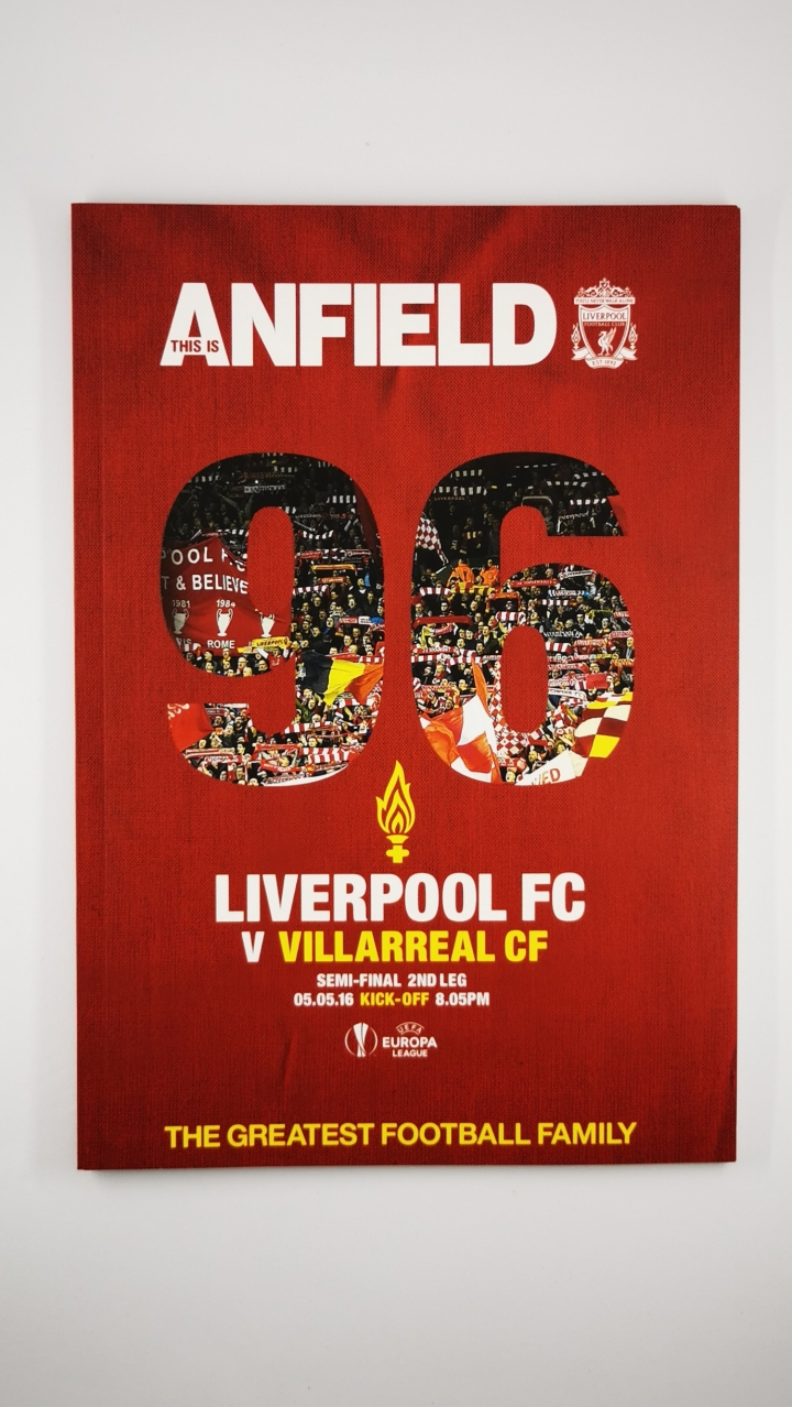 2015-16 Liverpool vs Villarreal Europa League Semi Final 2nd Leg programme