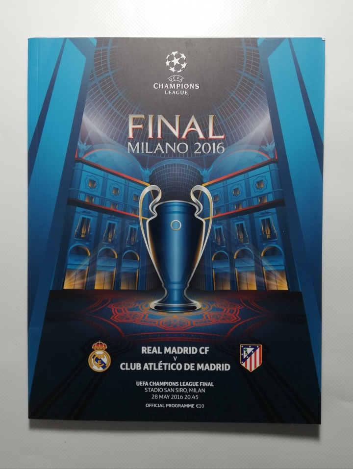 2016 Champions League Final Real Madrid vs Athletico Madrid Programme with kit cards football programme