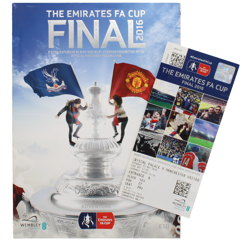 2016 F.A Cup Final Crystal Palace vs Manchester United programme and ticket