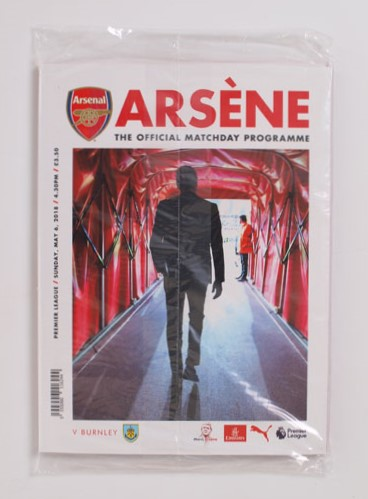 2018-19 Arsenal vs Burnley Programme Arsene Wenger last game