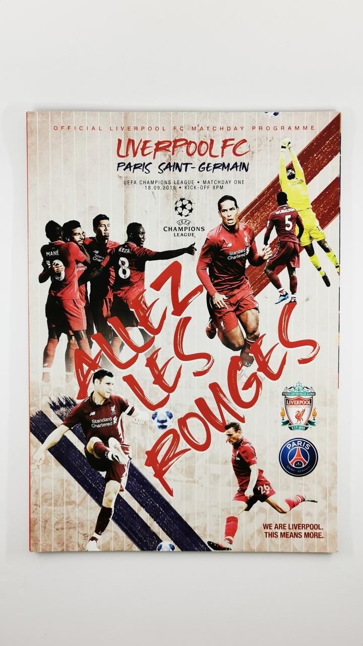 2018-19 Champions League Liverpool vs Paris Saint-Germain programme football programme
