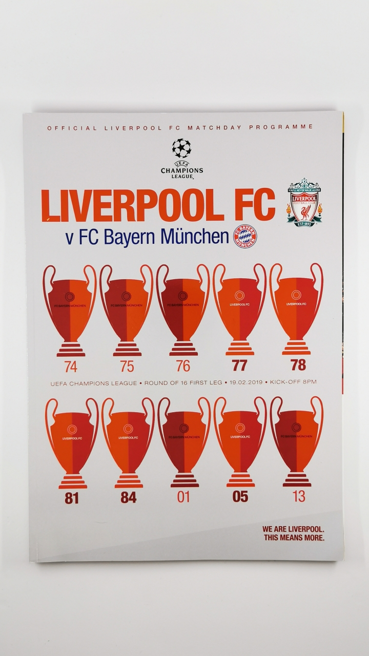 2018-19 Champions League Liverpool vs Bayern Munich programme