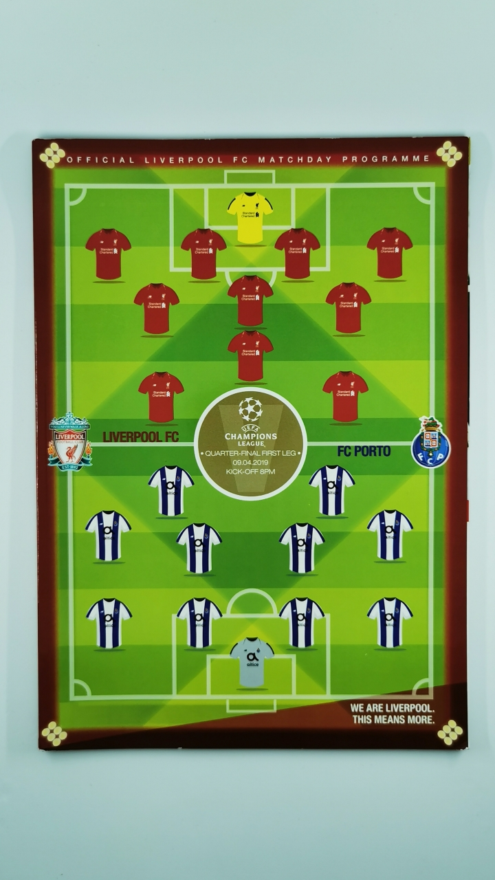 2018-19 Champions League Quarter Final 1st leg Liverpool vs Porto programme football programme