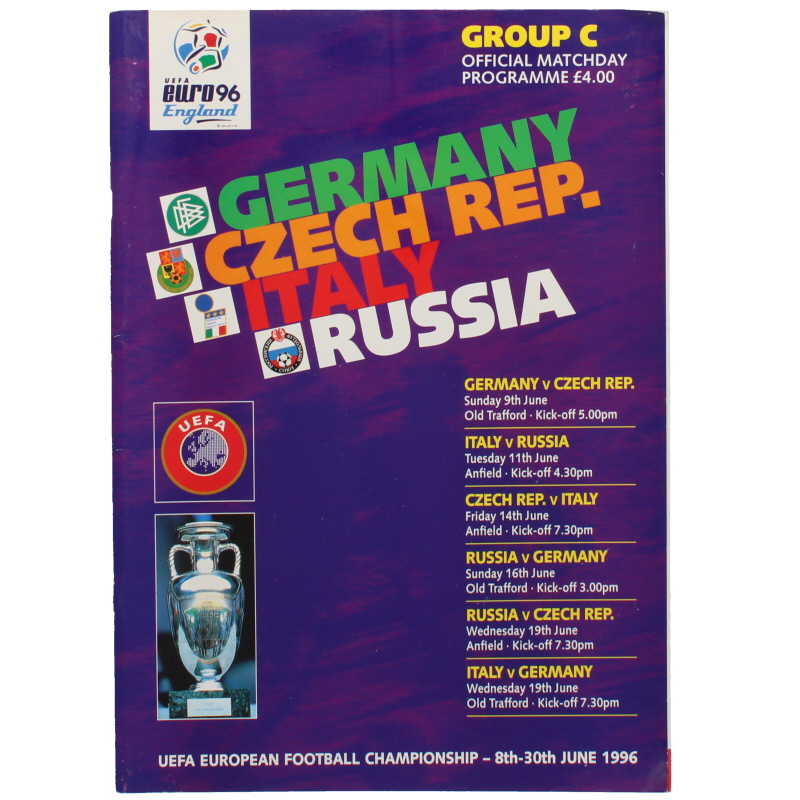 Euro 96 Group C Germany, Czech Republic, Italy, Russia programme football programme